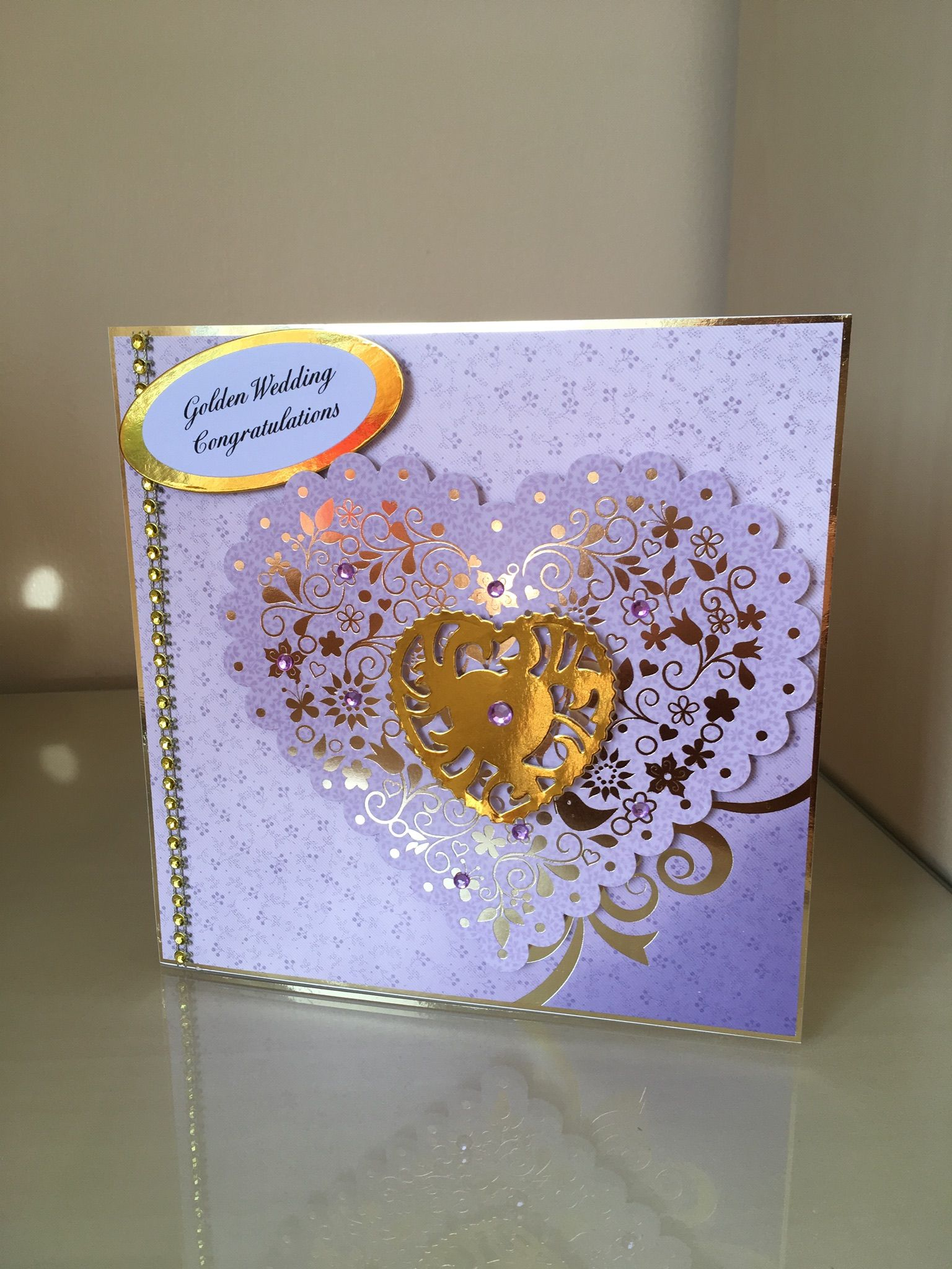 Golden wedding card made from Hunkydory kit