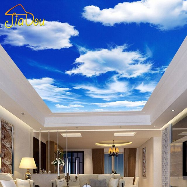 Custom Any Size Blue Sky And White Clouds Ceiling