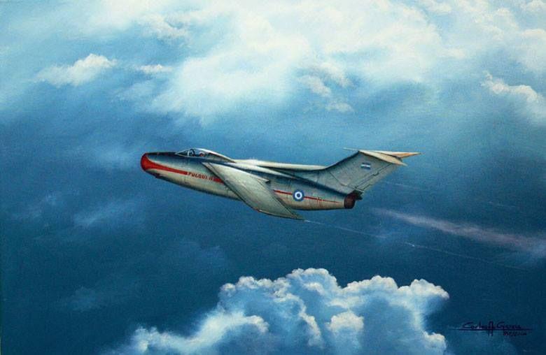 Pintura del artista Carlos Adrian Garcia que representa al prototipo del FMA IA-33 Pulqui II en uno de sus vuelos de prueba.