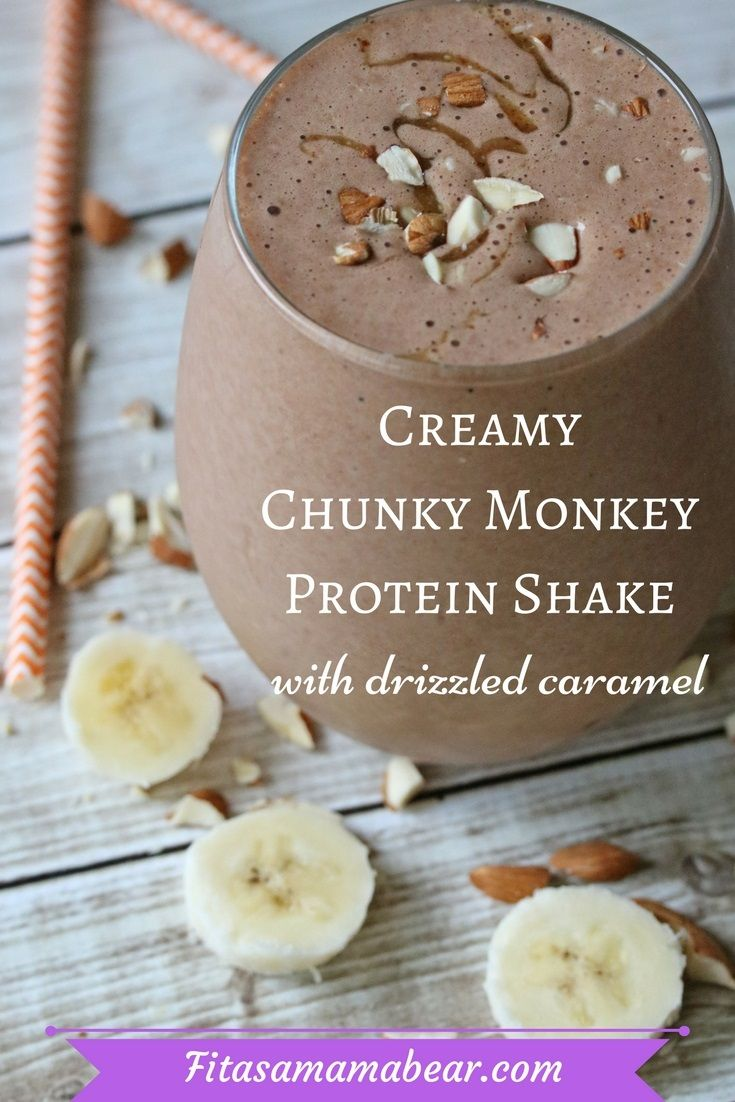 Creamy Chunky Monkey Protein Shake With Caramel Drizzle #proteinshakes