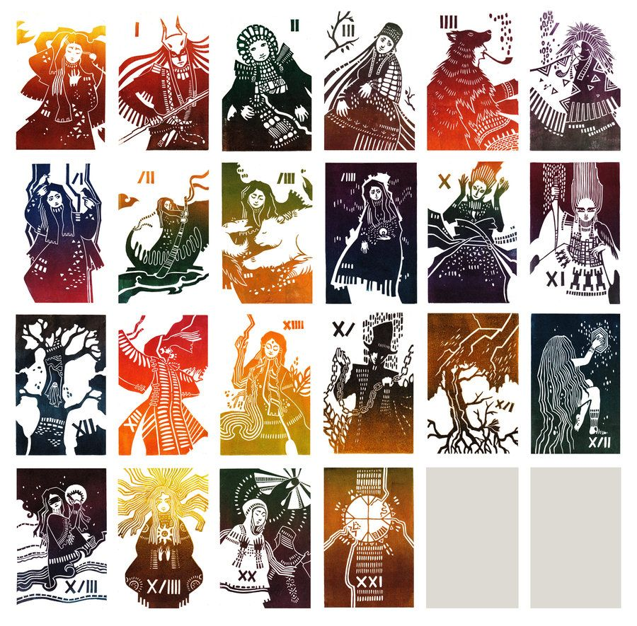 My second tarot deck linocut only major arcana download