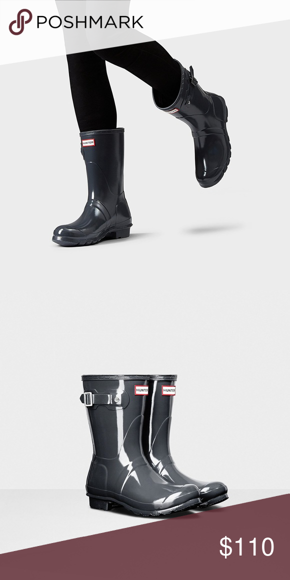 0cc590c14d37 Hunter Original Short Gloss Rain Boots Dark Slate Hunter Original Short  Gloss Rain Boots Dark Slate
