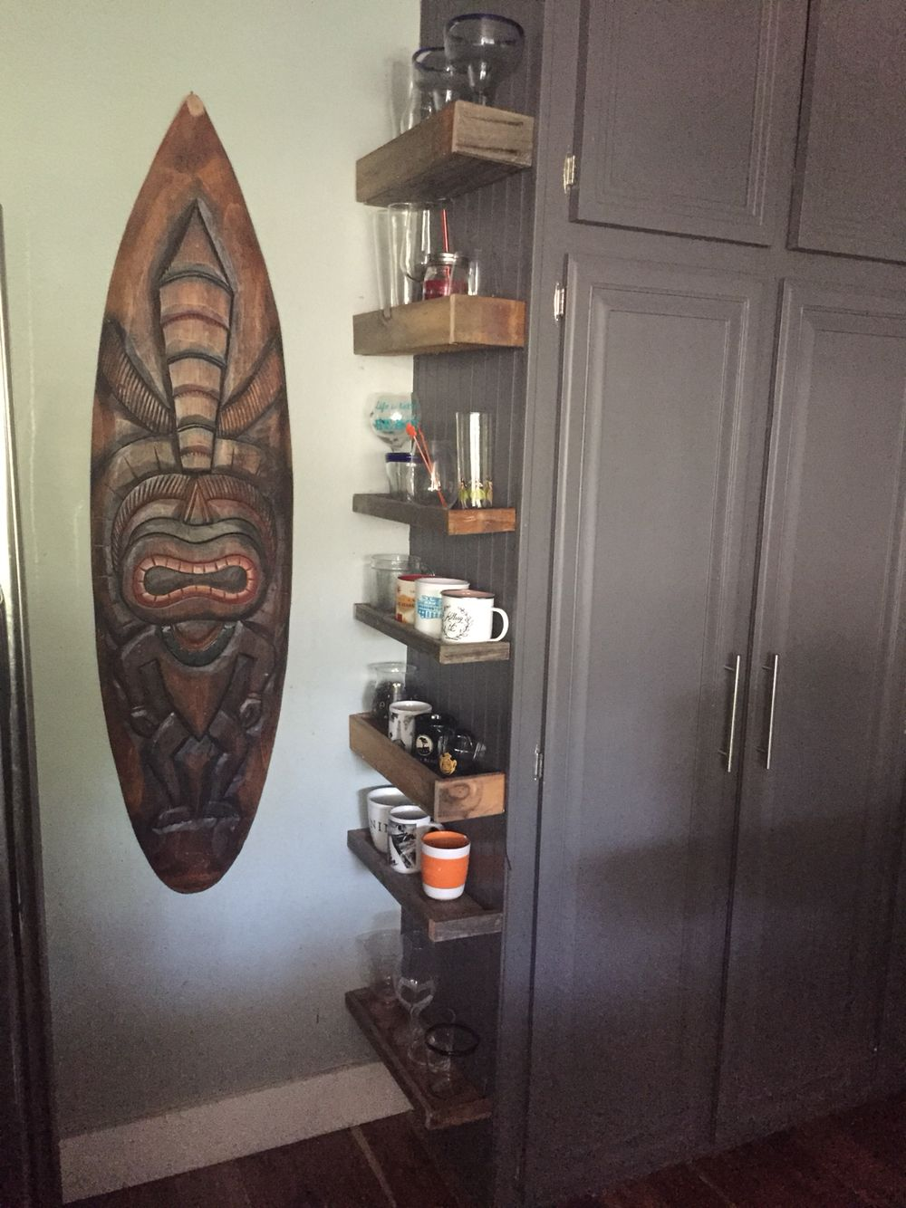 diy reclaimed wood cup shelves i made from old wood in my yard and rh pinterest com