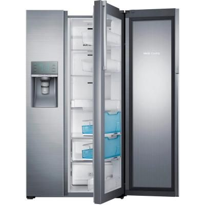 Samsung 28 5 Cu Ft Side By Side Refrigerator In Stainless Steel Food Showcase Side By Side Refrigerator Samsung Refrigerator Counter Depth