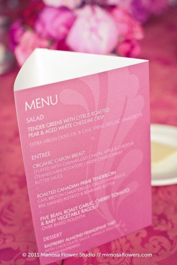 Love this standing menu menu cards