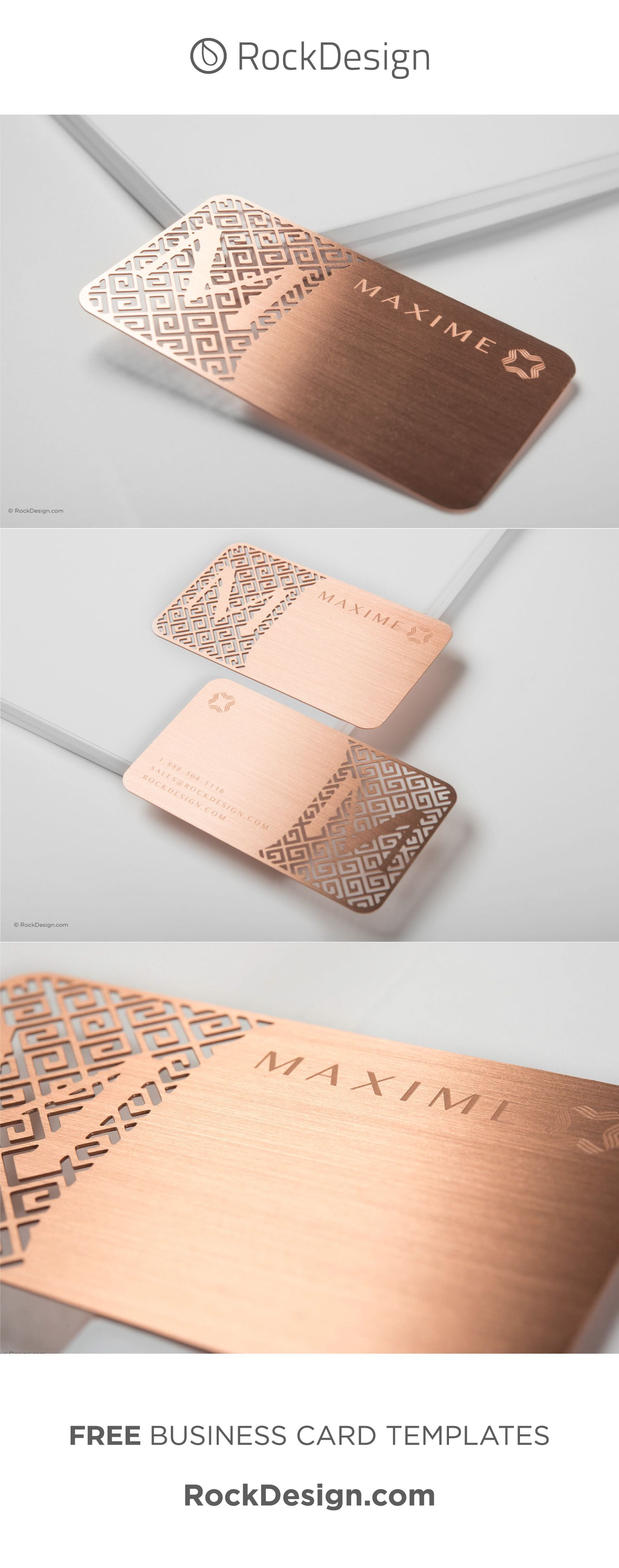 Luxury Rose Gold Metal Business Card With Brushed Finishing Maxime Metal Business Cards Elegant Business Cards Design Rose Gold Business Card