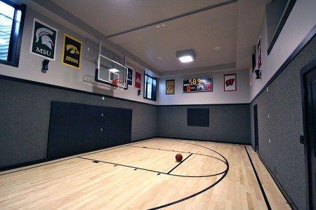 Basement indoor basketball court sport court Basketball court