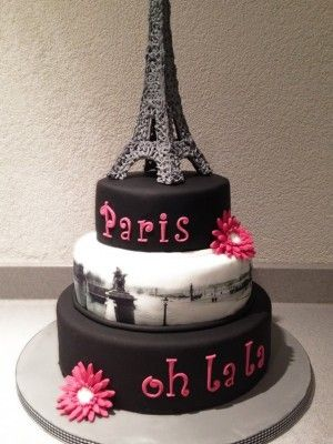 Paris Theme 3 Tier Cake Love The Edible Image On Middle Layer