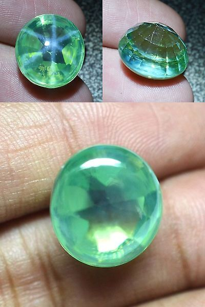 Lab-Created Sapphires 122958: 25 25 Ct 16X14 4 Mm Green Star