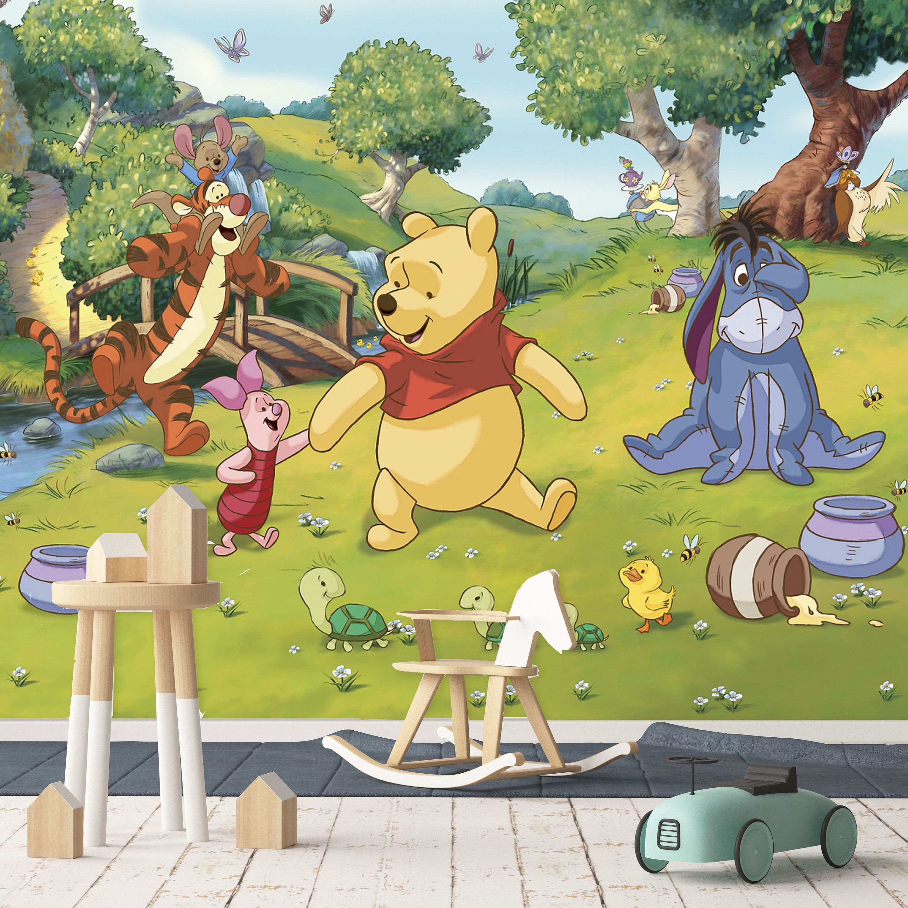 Winnie The Pooh Forest Background: Winnie The Pooh And Friends Playing Near The River Wall