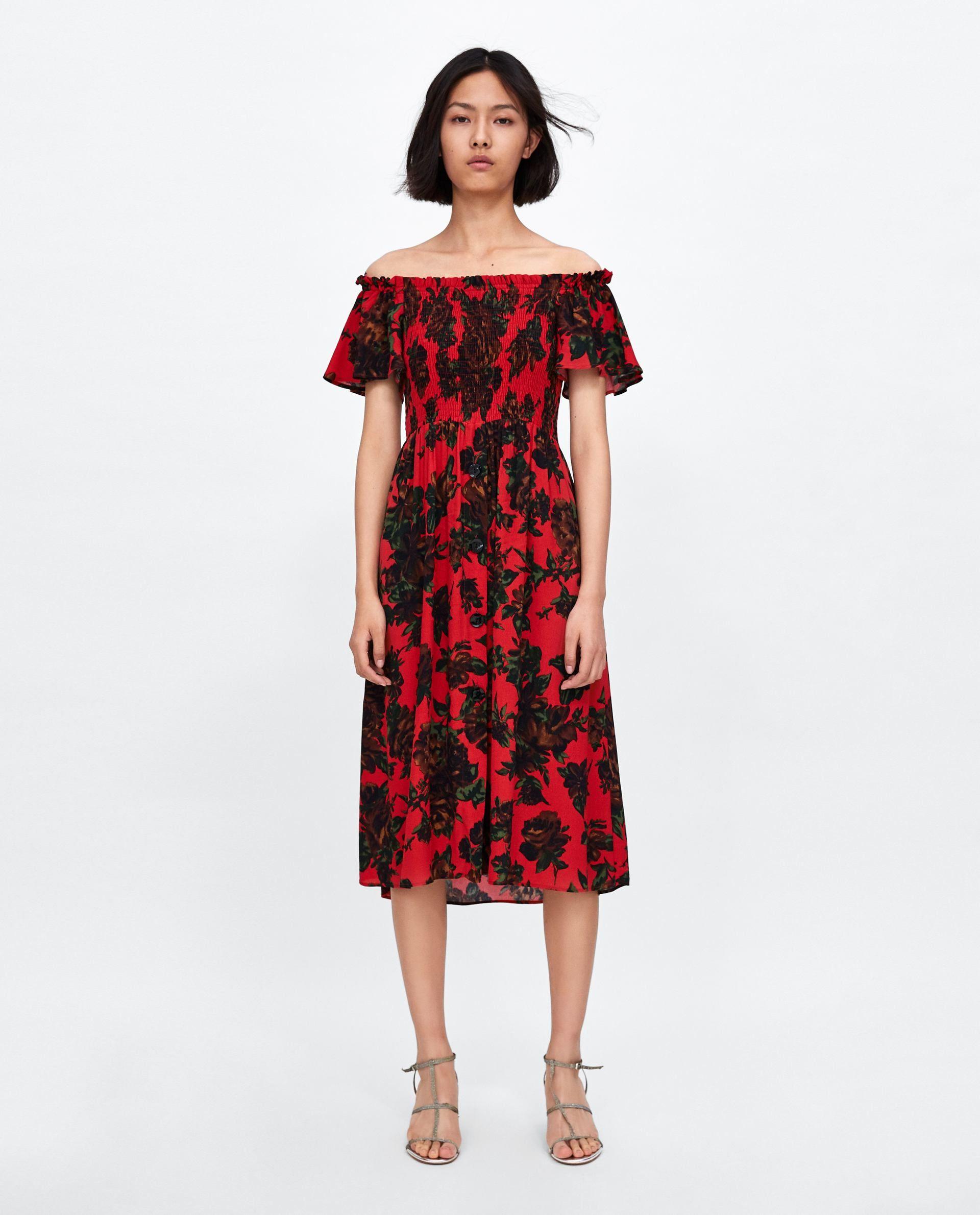 Vestido Hombros Descubiertos De Zara Vestidos Vestidos Nuevo
