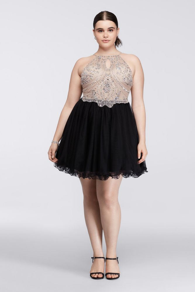 Short Halter Plus Size Dress with Beaded Bodice - Black / Nude, 19