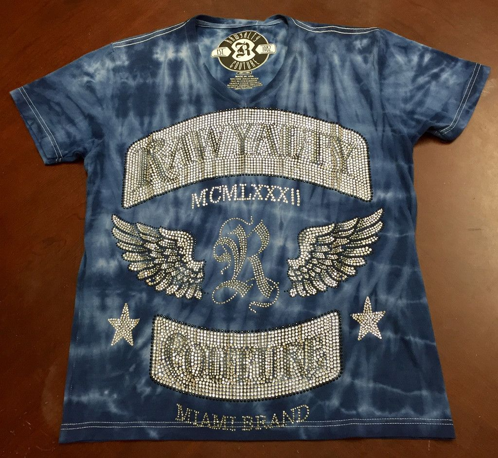 Rawyalty Couture Men's R Logo Wings Full Bling TShirt T