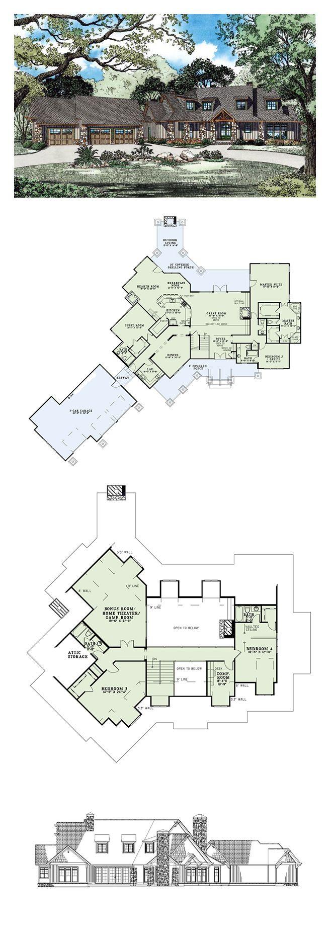 Craftsman european tuscan house plan 82261 beautiful for Detailed house plans