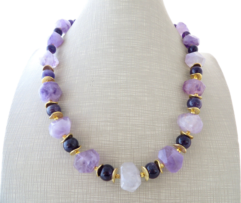 Purple chunky choker necklace