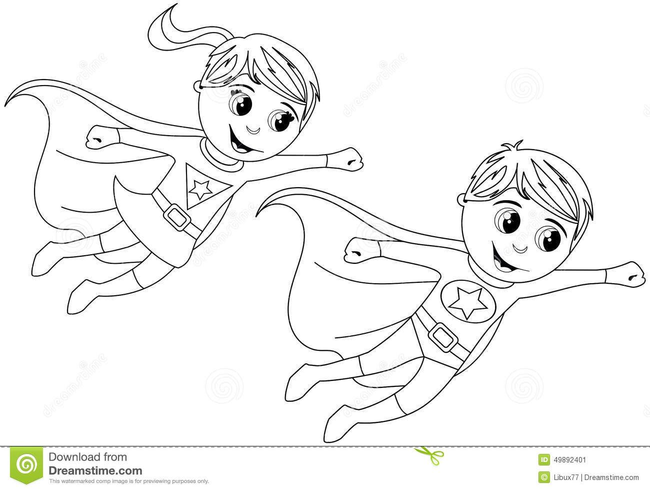 Happy Superhero Kid Kids Flying Isolated Coloring Page Stock .