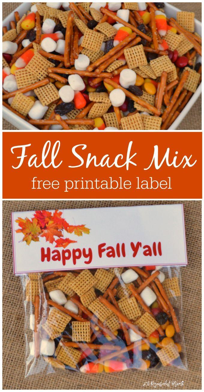 Fall Snack Mix Treat Bags Fall Snacks Free Printable