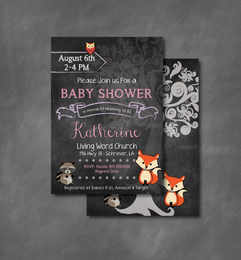 Chalkboard Woodland Animal Baby Shower Invitations DIY