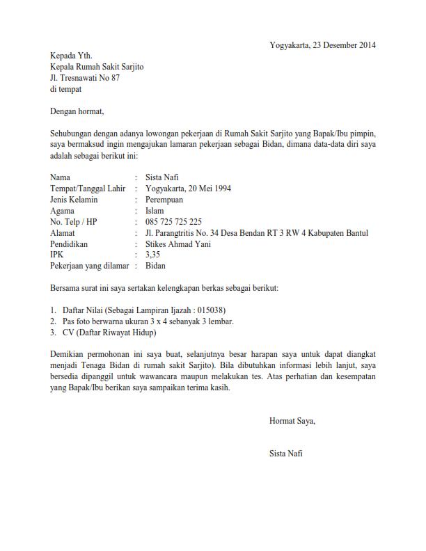 5 Surat Lamaran Kerja Perawat Di Klinik Lamatan Mela