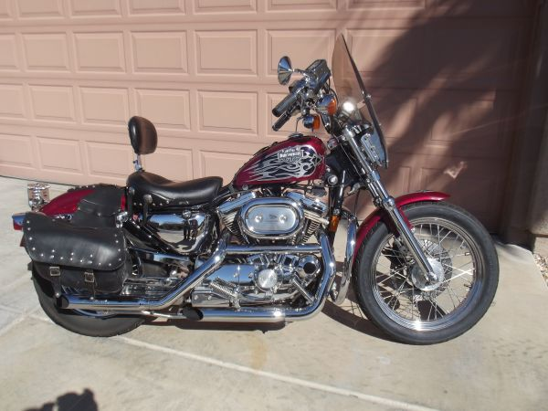 1995 Harley Davidson Sportster 883 34 000 Miles New Windshield Chromed Out Mustang Seat Rivited Bags And Harley Bikes Mustang Seats Harley Sportster 883