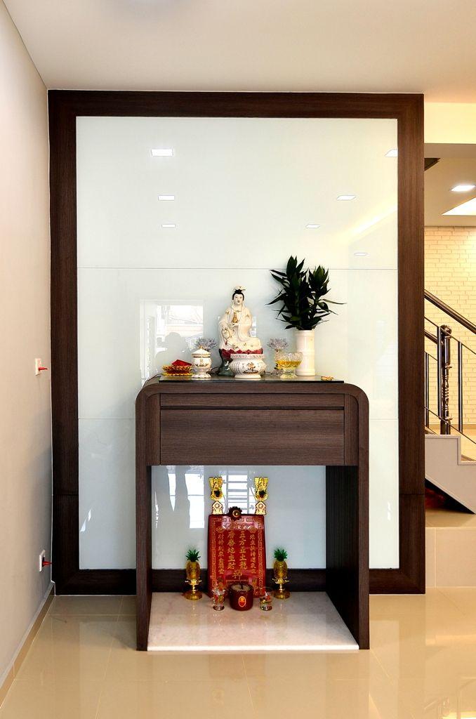 #altar #wood #woodwork #round #glasspanel #praying #buddha #cabinet