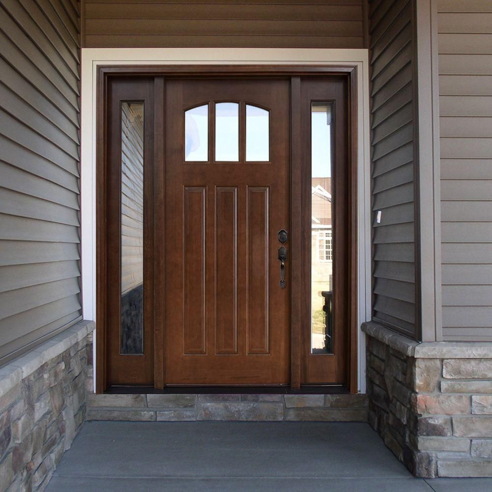 Craftsman 3 Lite Arch Stained Mahogany Wood
