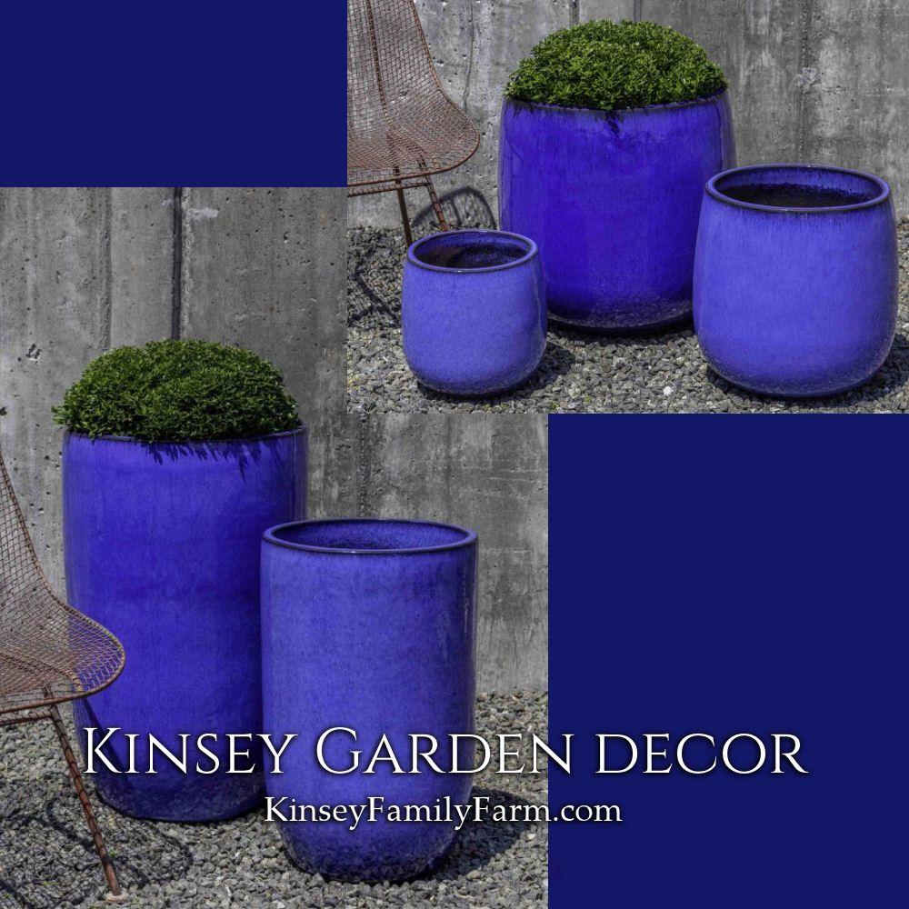 Kinsey Garden Decor modern Blue Indoor Outdoor Glazed