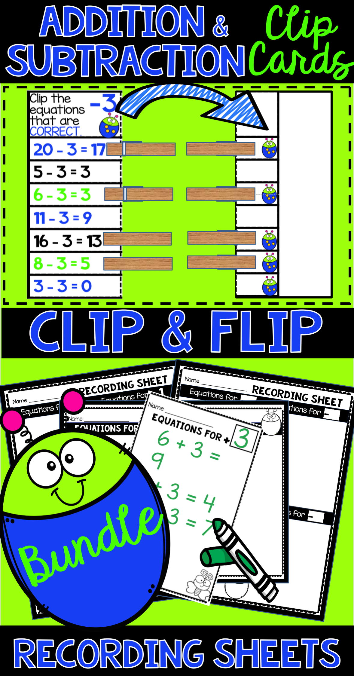 Addition Amp Subtraction Clip Cards In