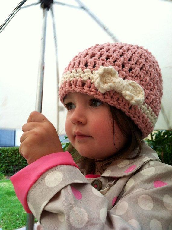 SALE  Pink Organic Crochet Baby Beanie Hat w/ Bow  by TayuhTate, $15.00
