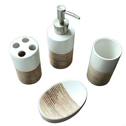 4 pc ceramic bath accessories set w soap dispenser toothbrush holder rh pinterest com