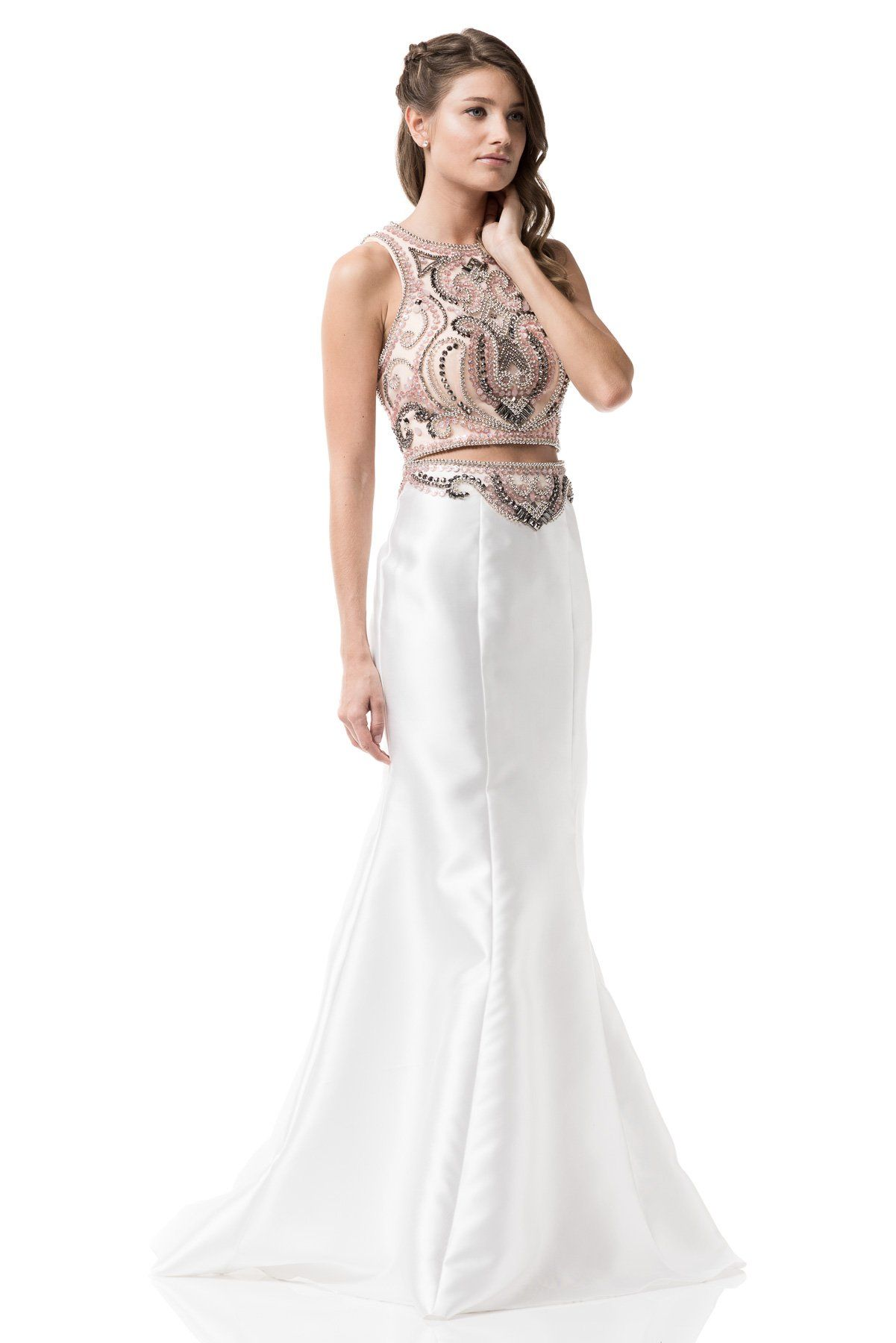 White two piece long prom dress bcyd products pinterest