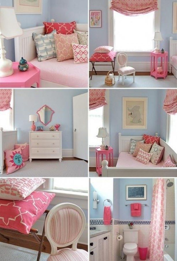 Girls room blue walls with pink