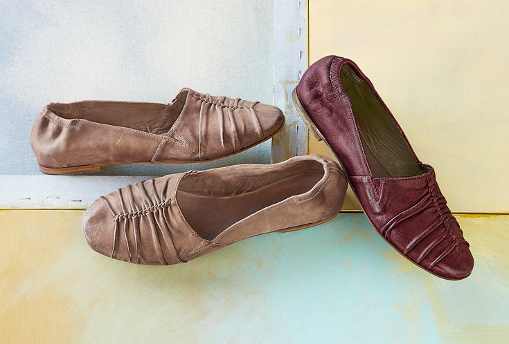 Burnished Leather Ballet Flats