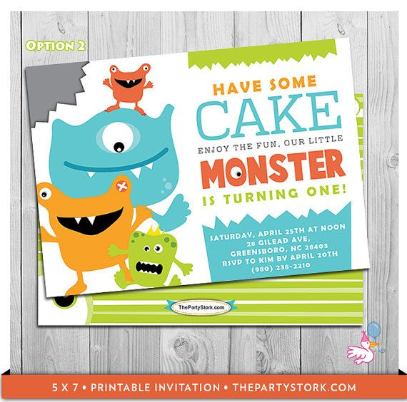 Monster First Birthday Invitation Printable by thepartystork