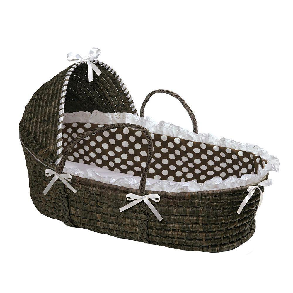 Espresso//Blue Badger Basket Moses Basket Gingham with Hood and Bedding