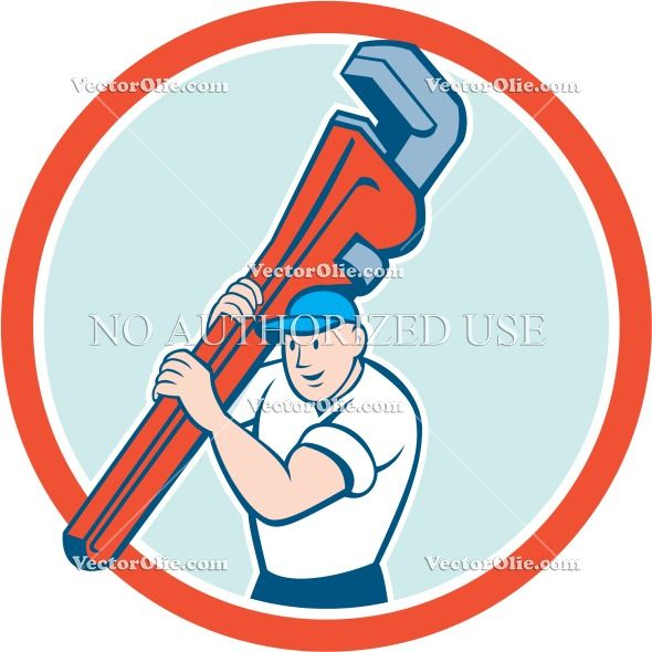 Plumber Carrying Monkey Wrench Circle Cartoon Cartoon Stock Illustration