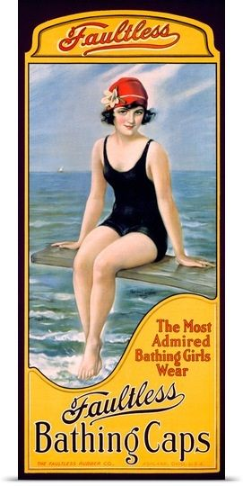 Faultess Bathing Caps,Vintage Poster, by William Haskell Coffin