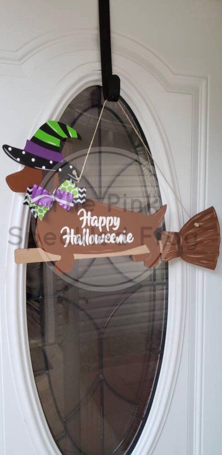 Happy Halloweenie door hanger