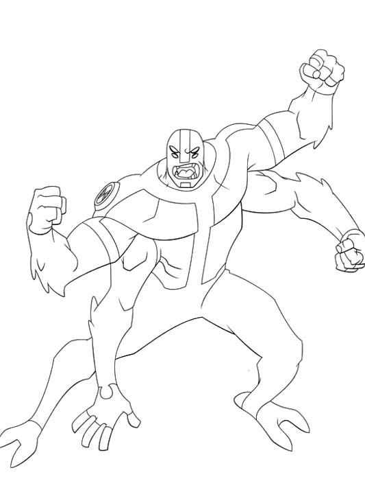 Ben 10 Transforms Into A Strong Coloring Pages Cartoon Coloring Pages Ben 10 Coloring Books