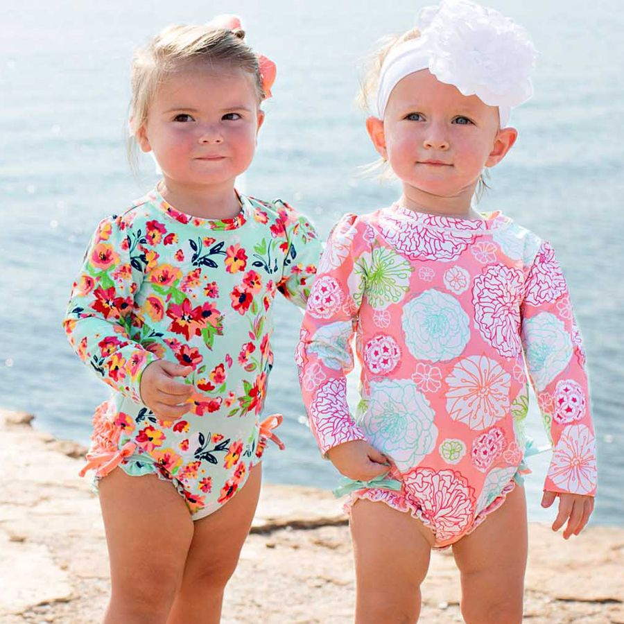 Kids4ever Baby Girl Long Sleeve Swimsuit Ruffle One Piece Swimwear Rash Guard for 3-24 Months