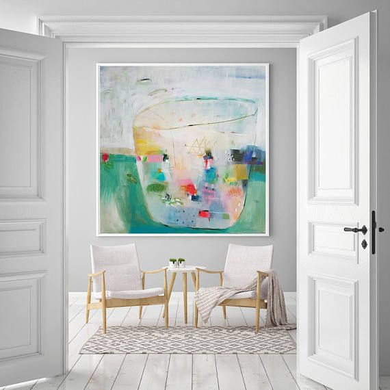 Wohnkultur Kunst Druck, Große Leinwand Giclée Druck, Florale Drucke, Grüne  Geometrische Kunst