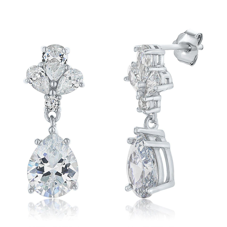 Pear Black Onyx Inlay 925 Sterling Silver Balinese Style Drop Dangle Earrings