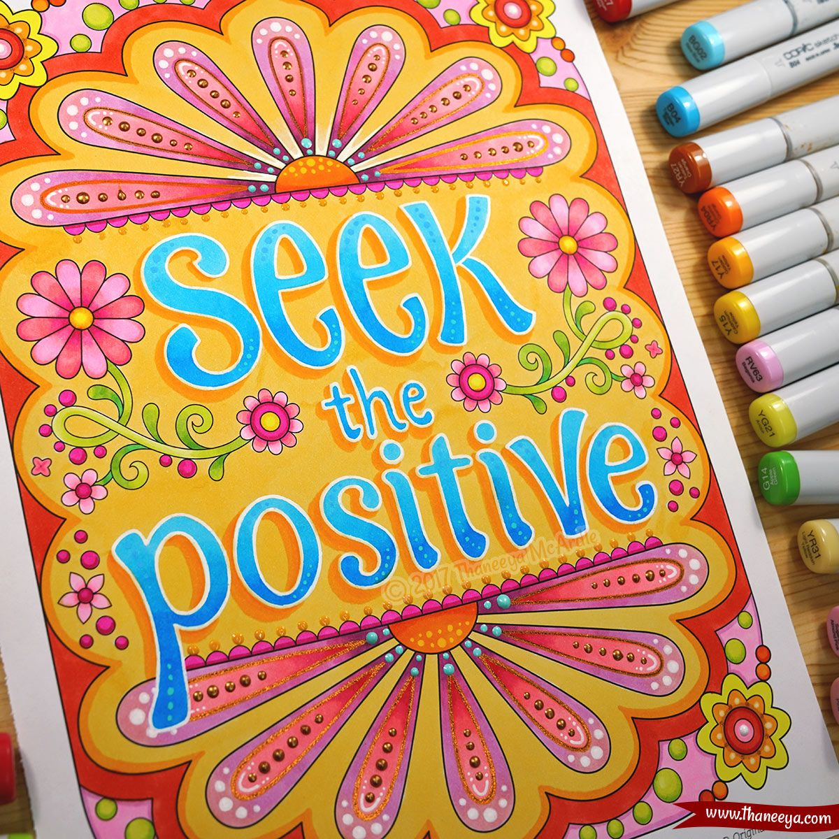 Seek The Positive Coloring Page One Of The Extra Pages In The Target Exclusive Edition Of Thaneeya Coloring Books Coloring Book Pages Quote Coloring Pages