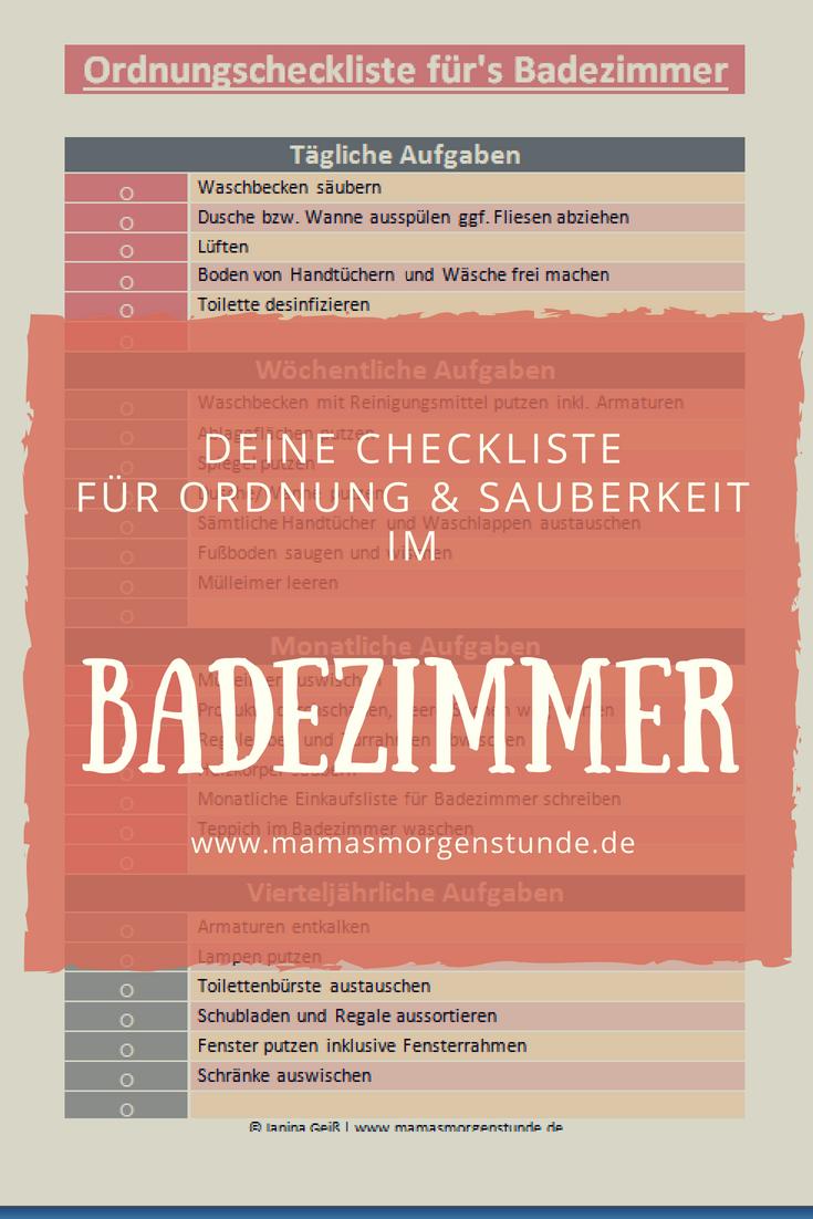 Pin Von Silke Lissner Auf Mamas Morgenstunde Badezimmer Haushalt Badezimmer Checkliste