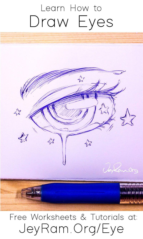 How To Draw Eyes Free Worksheet Tutorial In 2020 Eye Drawing Drawings Drawing Tutorial