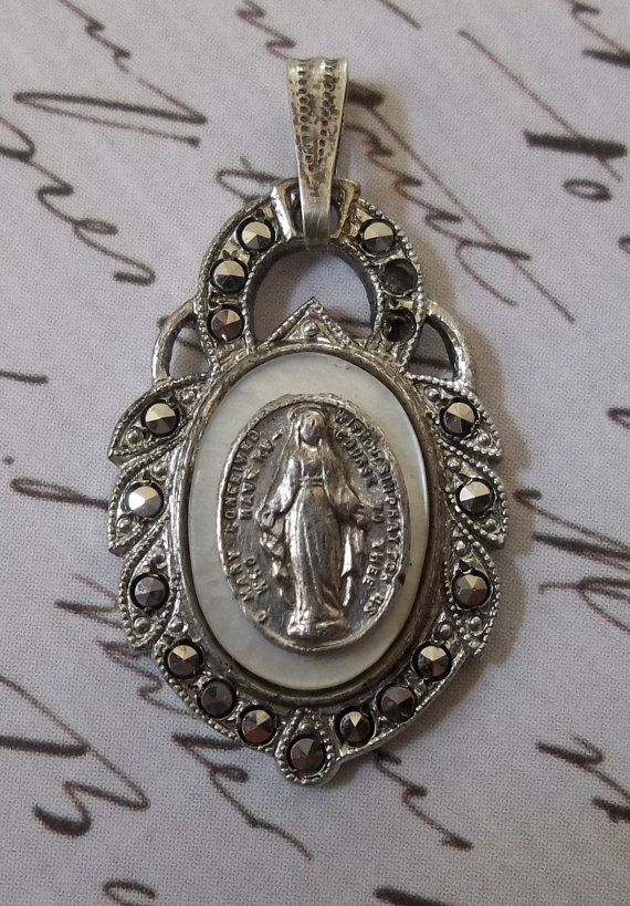 Very Rare Sterling Silver Marcasite With Mother Of Pearl Art Deco