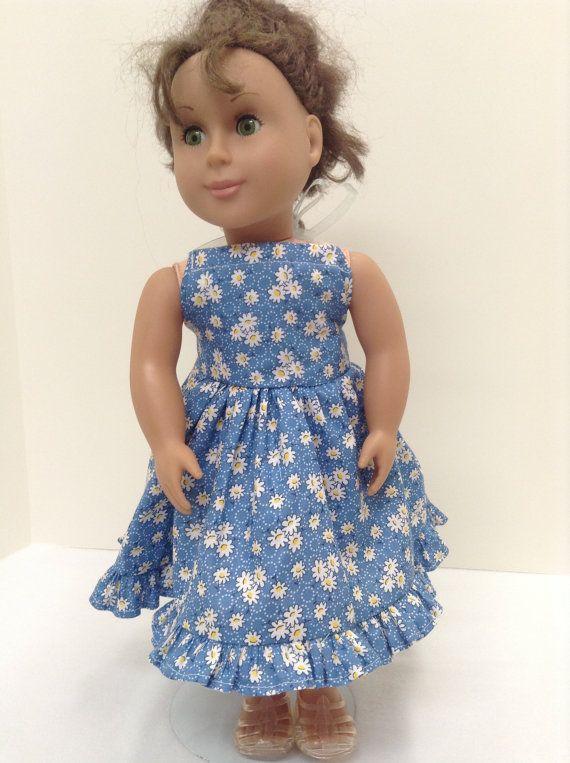 Blue Daisy Halter Dress  Fits 18 American by KeepsakeDollDesigns, $12.99