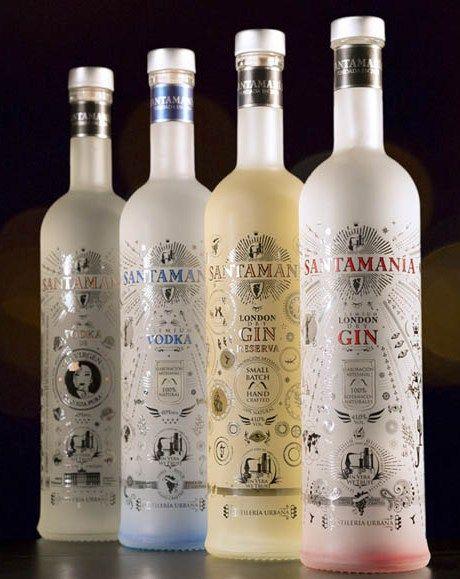 Colección de Premium Vodka y London Dry Gin SANTAMANÍA. Disponibles siempre en nuestra tienda online: http://www.santamania.com/tienda/