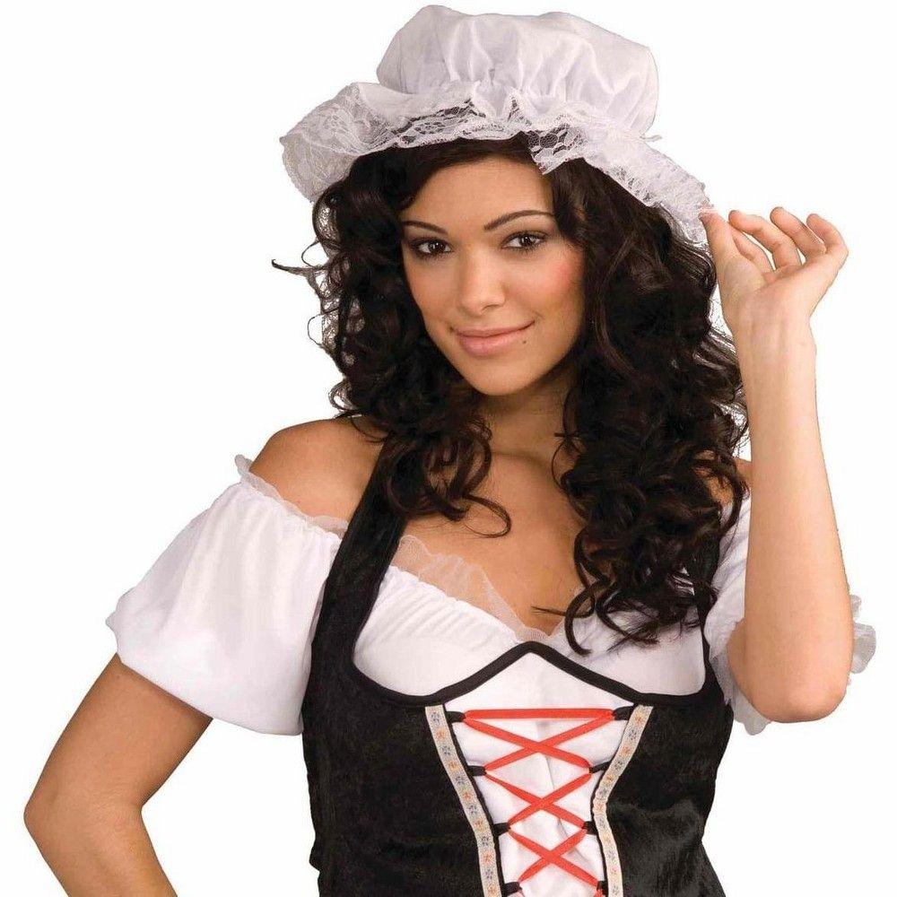 White Mob Cap Hat Mop Colonial Bonnet Pilgrim Adult Costume Accessory