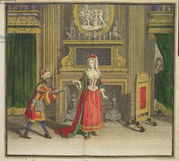Lady in her bedroom, published c.1688-90 (coloured engraving), Jean Dieu de Saint-Jean (fl. 1671-1709)